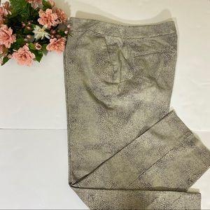 Rafaella Grey Cheetah Animal Print Ankle Pants